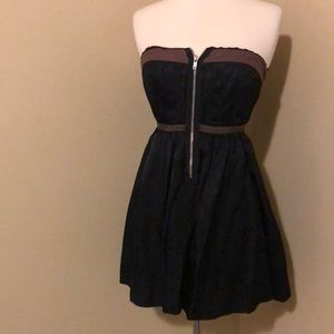 Free People Black & Brown Strapless Dress Size 0